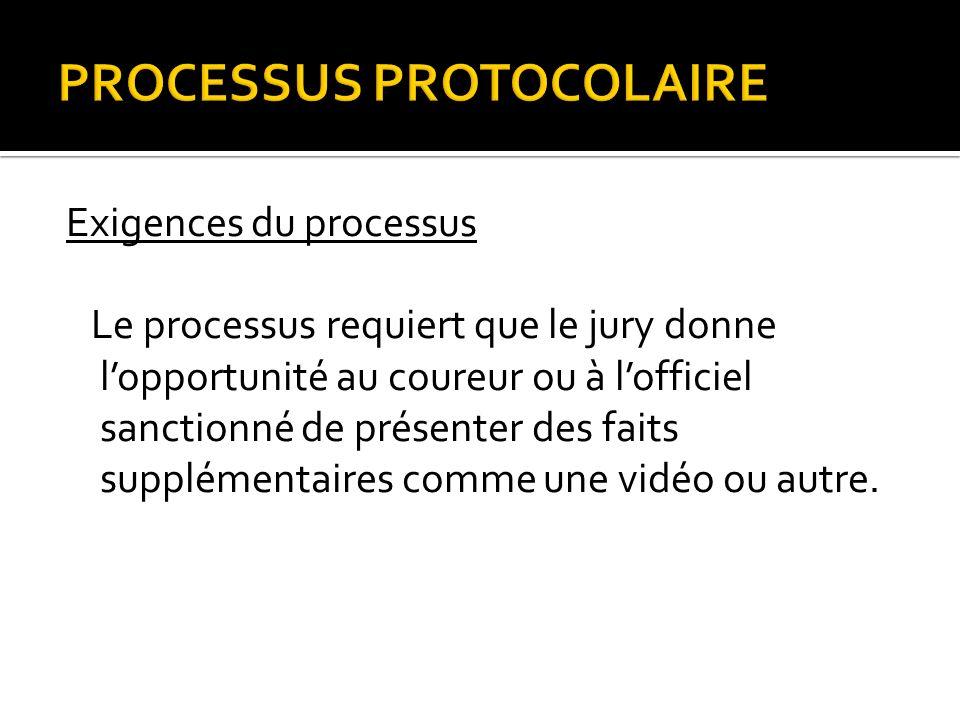 PROCESSUS PROTOCOLAIRE Exigences du processus Le processus requiert que le jury donne lopportunité au coureur ou à lofficiel sanctionné de présenter des faits supplémentaires comme une vidéo ou autre.
