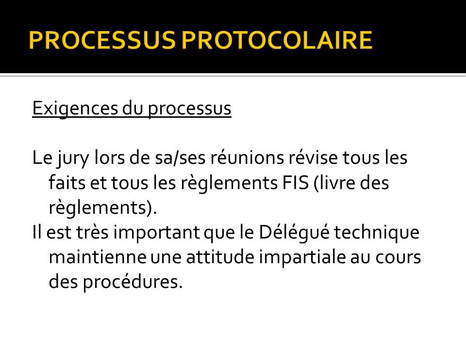 PROCESSUS PROTOCOLAIRE Exigences du processus Le jury lors de sa/ses réunions révise tous les faits et tous les règlements FIS (livre des règlements).