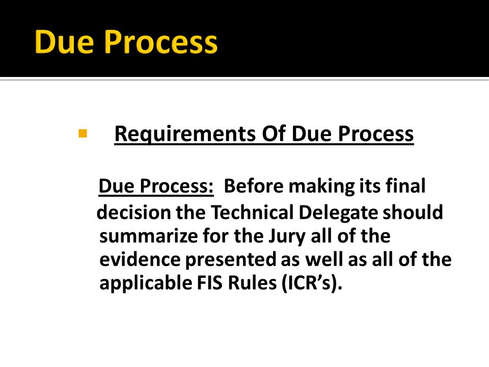 Requirements Of Due Process Due Process: Before making its final decision the Technical Delegate should summarize for the Jury all of the evidence pre