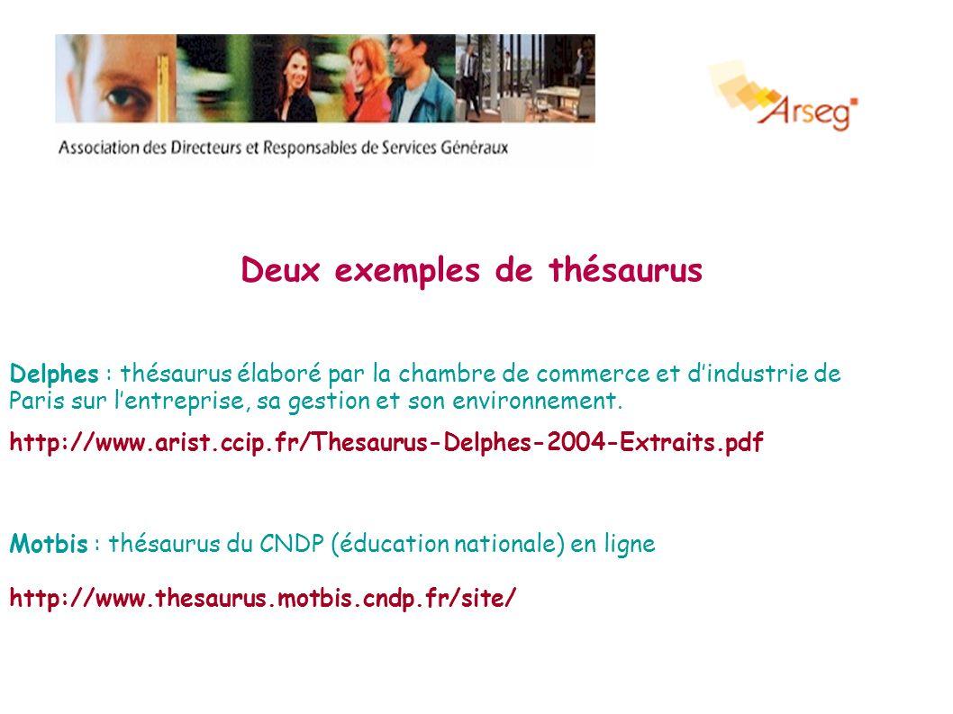 Deux exemples de thésaurus Delphes : thésaurus élaboré par la chambre de commerce et dindustrie de Paris sur lentreprise, sa gestion et son environnem
