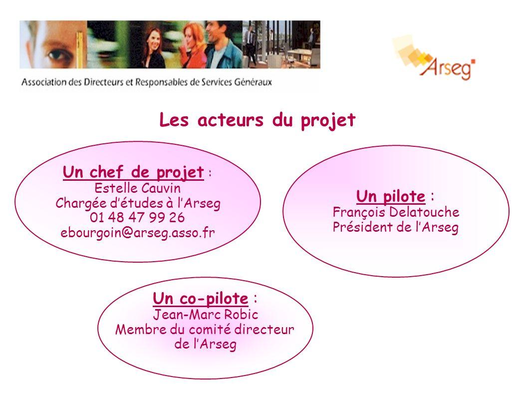 Les acteurs du projet Un chef de projet : Estelle Cauvin Chargée détudes à lArseg 01 48 47 99 26 ebourgoin@arseg.asso.fr Un co-pilote : Jean-Marc Robi