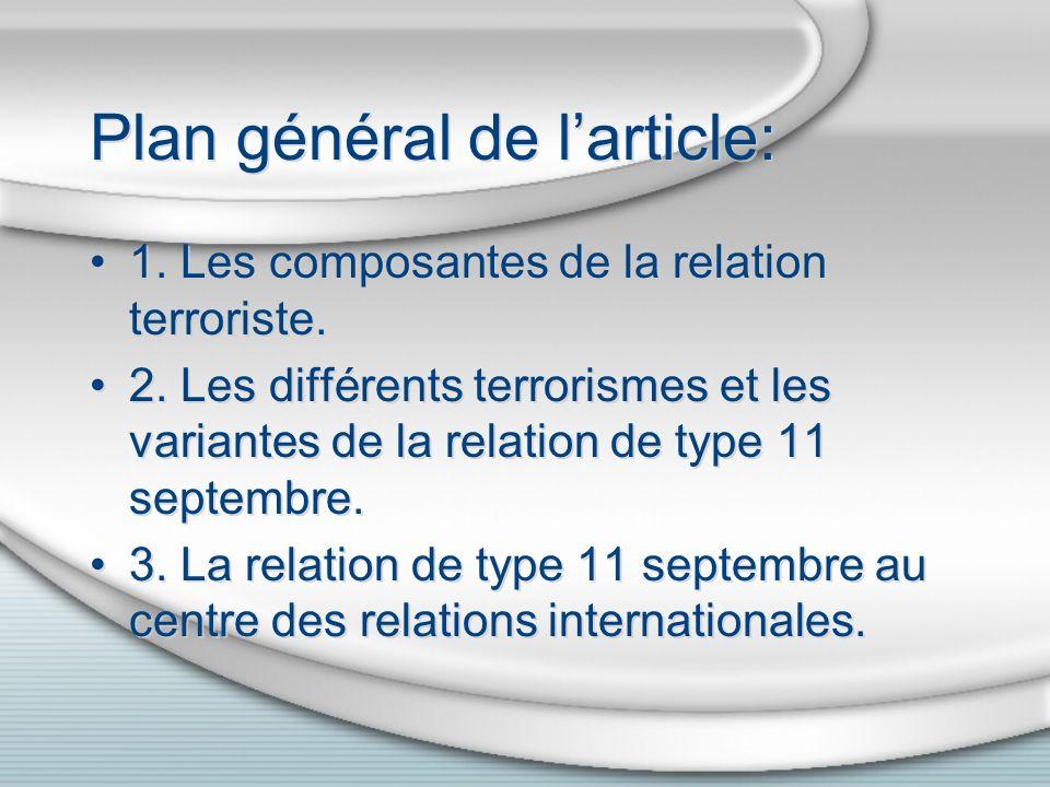 Plan général de larticle: 1. Les composantes de la relation terroriste. 2. Les différents terrorismes et les variantes de la relation de type 11 septe