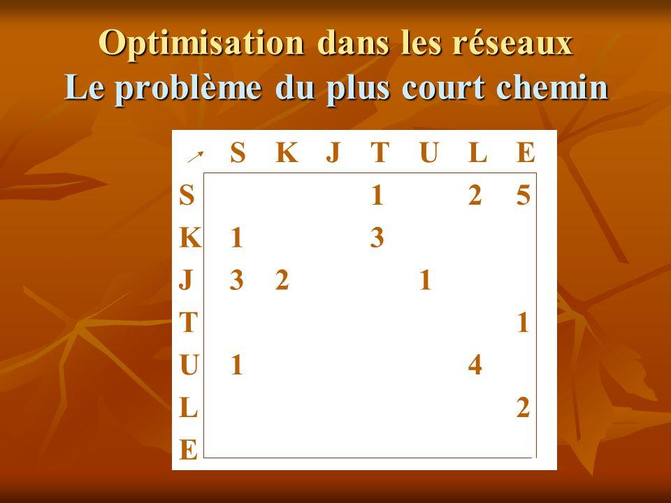 Optimisation dans les réseaux Le problème du plus court chemin SKJTULE S125 K13 J321 T1 U14 L2 E