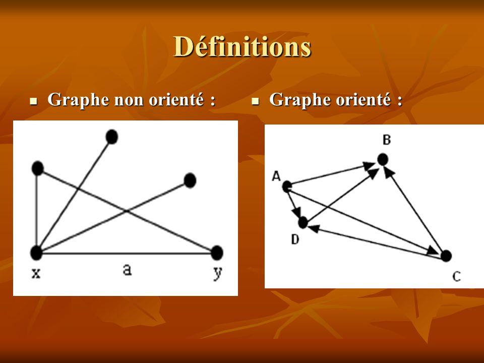 Définitions Graphe non orienté : Graphe non orienté : Graphe orienté : Graphe orienté :