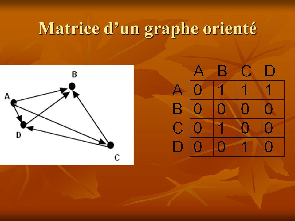 Définiton Degré dun sommet : nombre darêtes reliées à ce sommet Degré dun sommet : nombre darêtes reliées à ce sommet Le sommet A est de degré 3 : (B, C et D aussi)