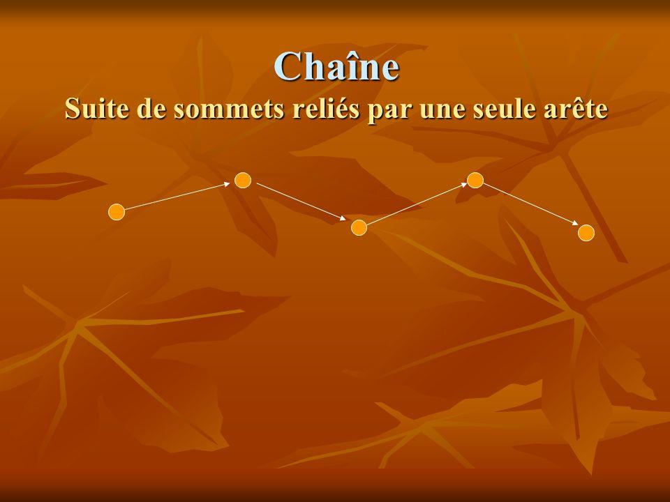 Types de chaînes Chaîne hamiltonienne : Chaîne hamiltonienne : Chaîne passant par tous les sommets dun graphe ABCD (ABDC, ACBD aussi) ABDC, ACBD