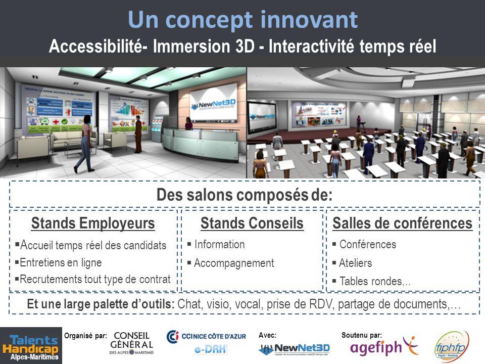 Organisé par: Soutenu par: Alpes-Maritimes Avec: 2 Un concept innovant Accessibilité- Immersion 3D - Interactivité temps réel Des salons composés de: