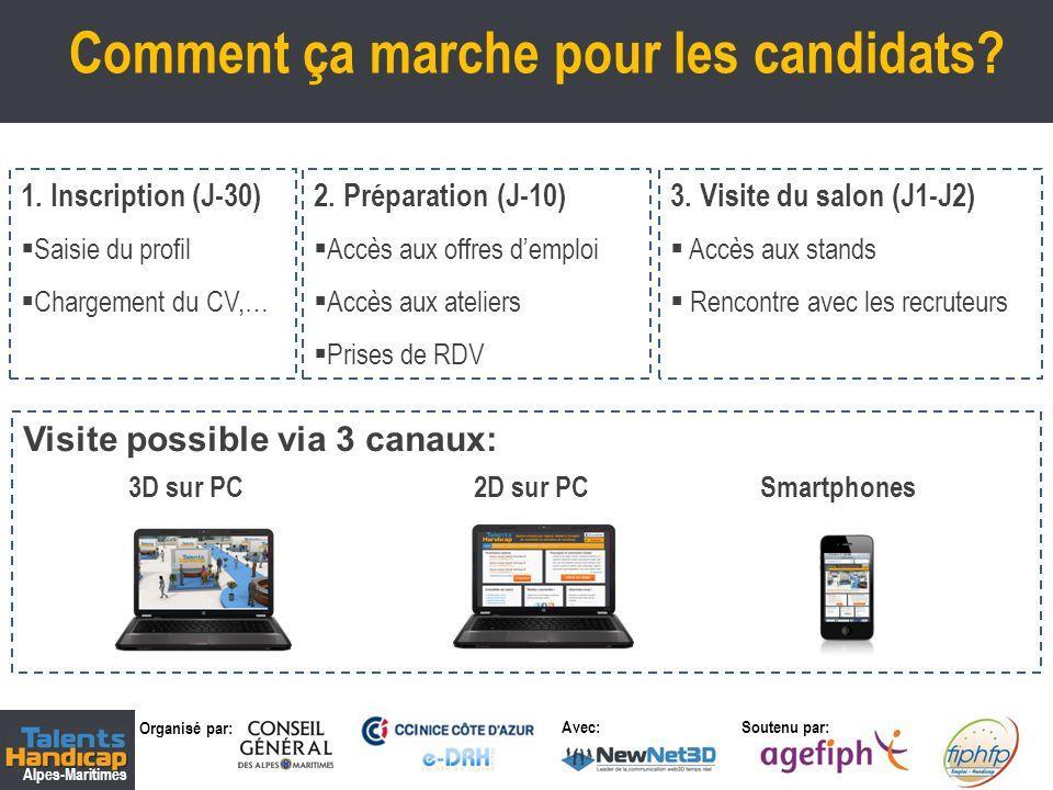 Organisé par: Soutenu par: Alpes-Maritimes Avec: Comment ça marche pour les candidats? 3 1. Inscription (J-30) Saisie du profil Chargement du CV,… 3.