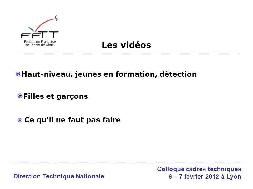 Les vidéos Haut-niveau, jeunes en formation, détection Filles et garçons Ce quil ne faut pas faire Direction Technique Nationale Colloque cadres techniques 6 – 7 février 2012 à Lyon