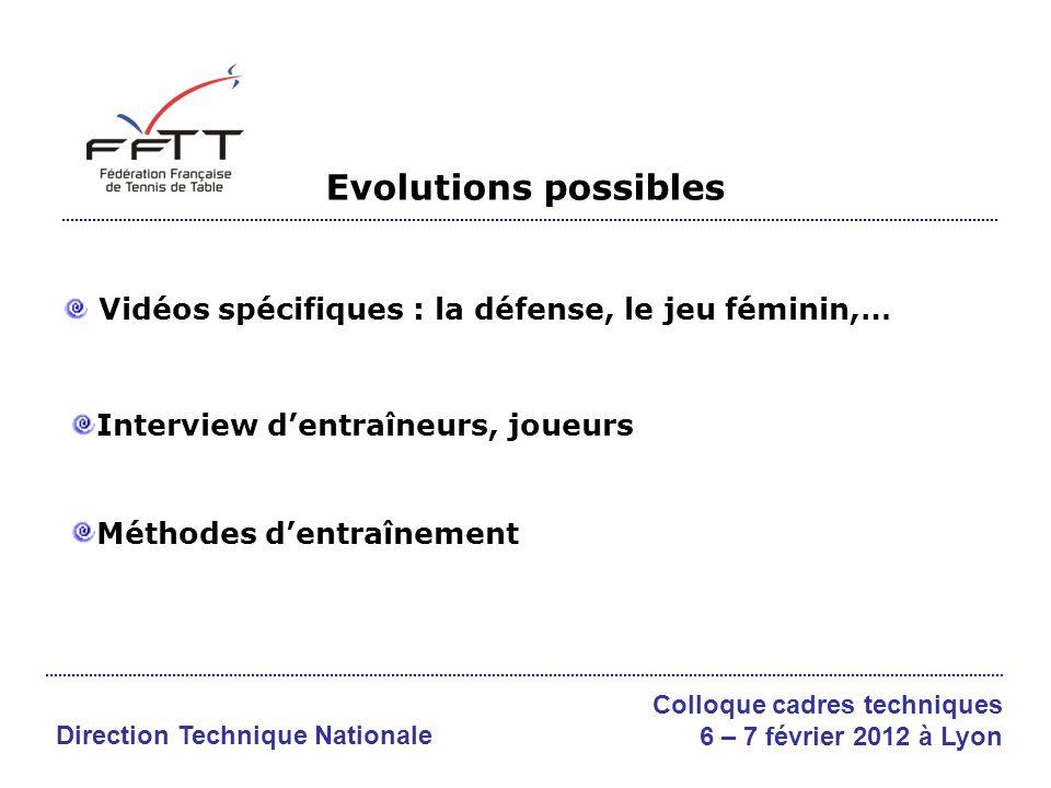 Evolutions possibles Vidéos spécifiques : la défense, le jeu féminin,… Interview dentraîneurs, joueurs Méthodes dentraînement Direction Technique Nationale Colloque cadres techniques 6 – 7 février 2012 à Lyon