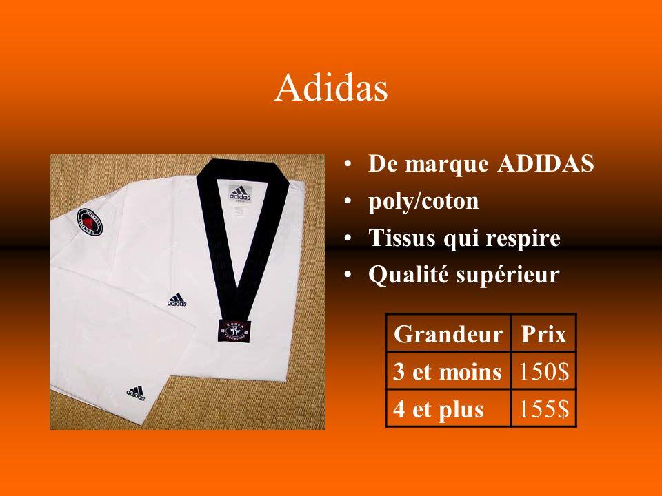 Adidas De marque ADIDAS poly/coton Tissus qui respire Qualité supérieur GrandeurPrix 3 et moins150$ 4 et plus155$
