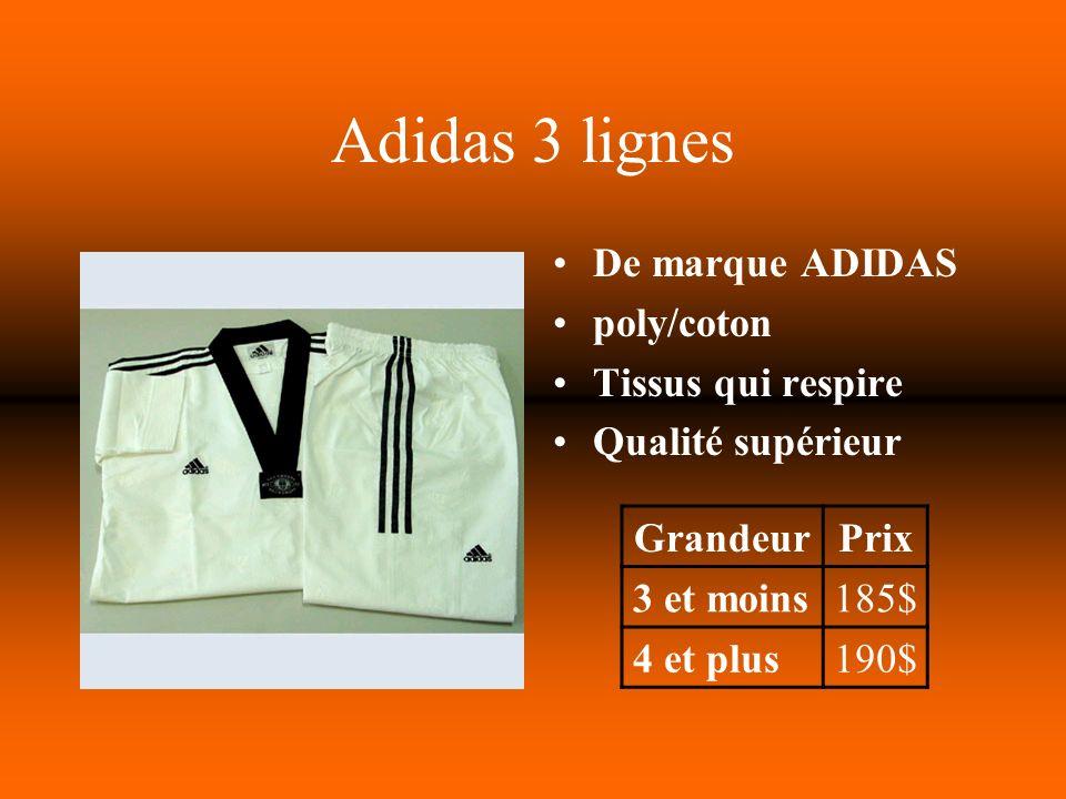 Adidas 3 lignes De marque ADIDAS poly/coton Tissus qui respire Qualité supérieur GrandeurPrix 3 et moins185$ 4 et plus190$