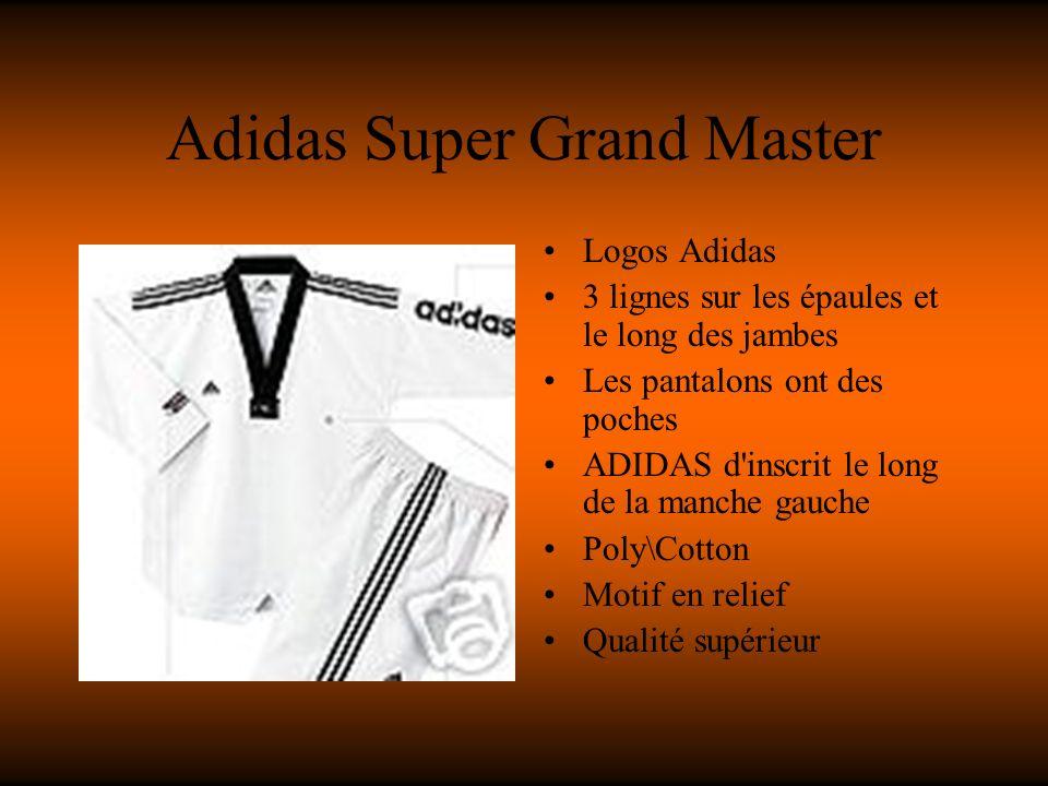 Adidas Super Grand Master Logos Adidas 3 lignes sur les épaules et le long des jambes Les pantalons ont des poches ADIDAS d inscrit le long de la manche gauche Poly\Cotton Motif en relief Qualité supérieur