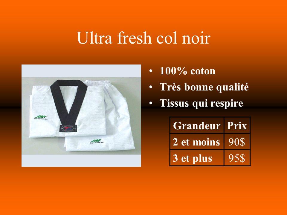 Ultra fresh col noir 100% coton Très bonne qualité Tissus qui respire GrandeurPrix 2 et moins90$ 3 et plus95$