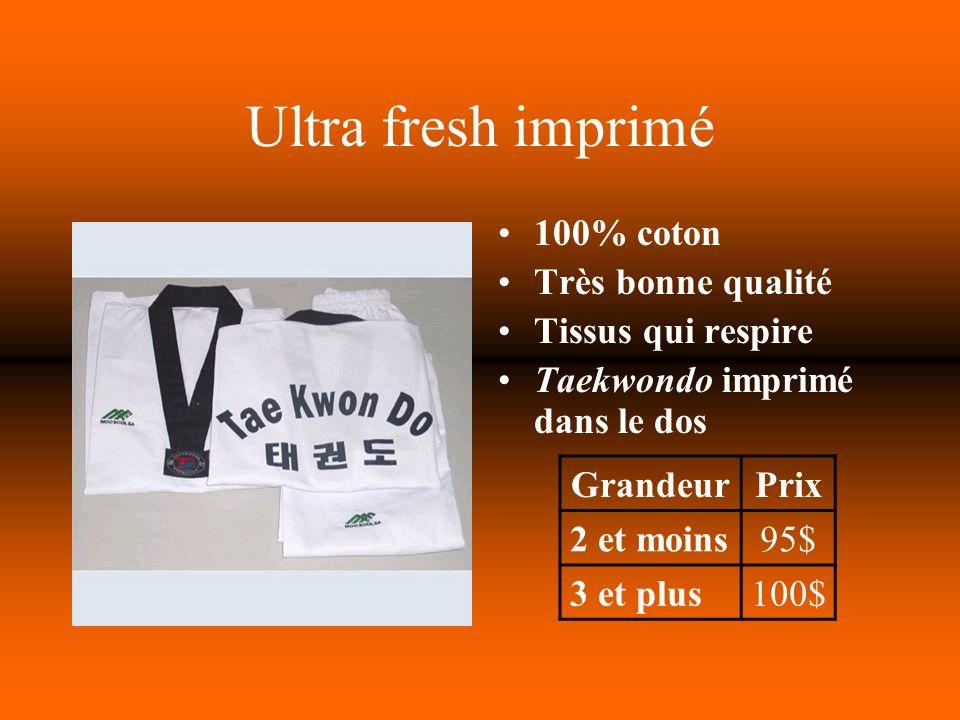 Ultra fresh imprimé 100% coton Très bonne qualité Tissus qui respire Taekwondo imprimé dans le dos GrandeurPrix 2 et moins95$ 3 et plus100$