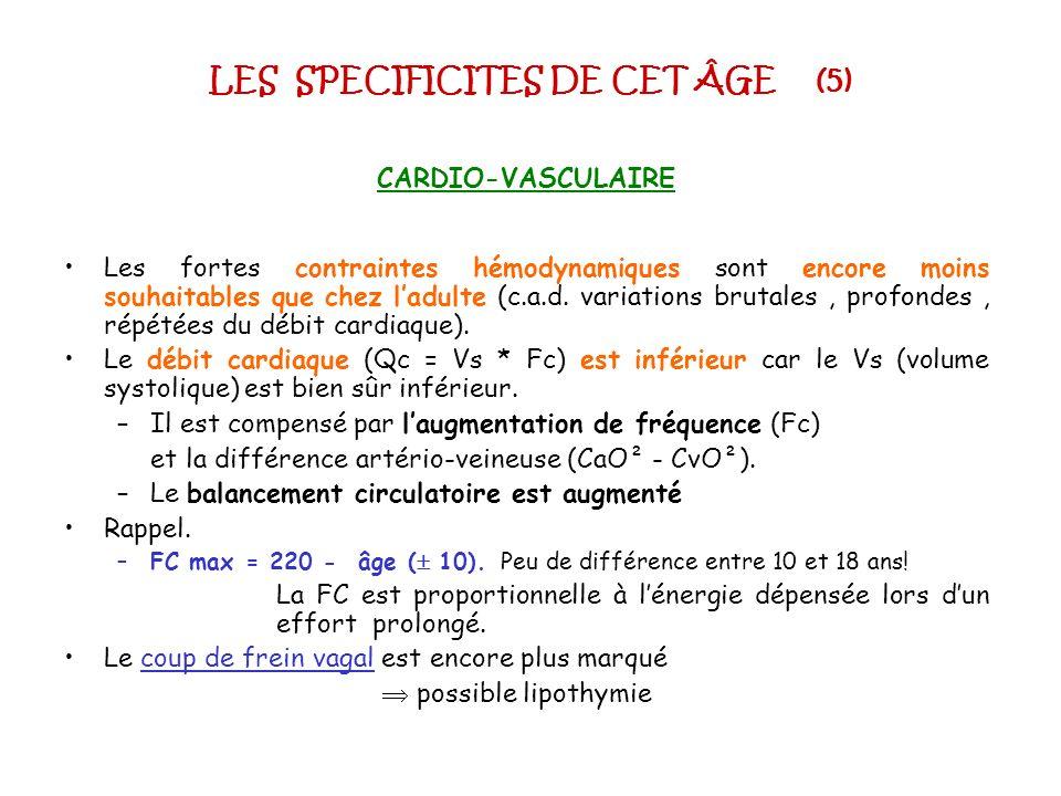 LES SPECIFICITES DE CET ÂGE (5) CARDIO-VASCULAIRE Les fortes contraintes hémodynamiques sont encore moins souhaitables que chez ladulte (c.a.d. variat