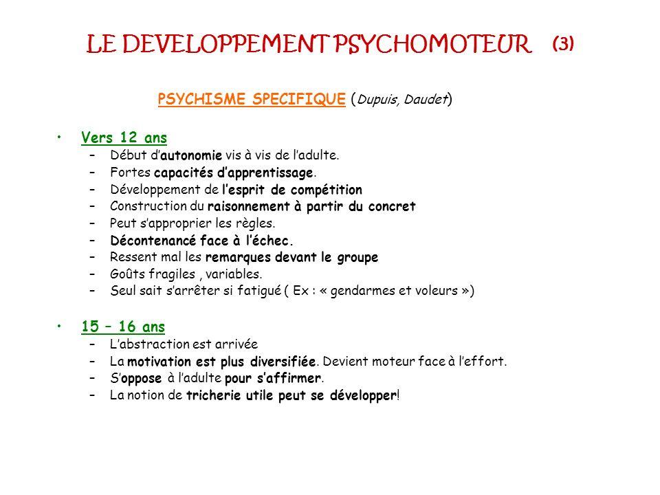 LE DEVELOPPEMENT PSYCHOMOTEUR (3) PSYCHISME SPECIFIQUE ( Dupuis, Daudet ) Vers 12 ans –Début dautonomie vis à vis de ladulte. –Fortes capacités dappre