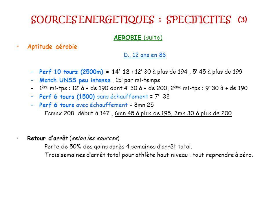 SOURCES ENERGETIQUES : SPECIFICITES (3) AEROBIE (suite) Aptitude aérobie D., 12 ans en 86 –Perf 10 tours (2500m) = 14 12 : 12 30 à plus de 194, 5 45 à