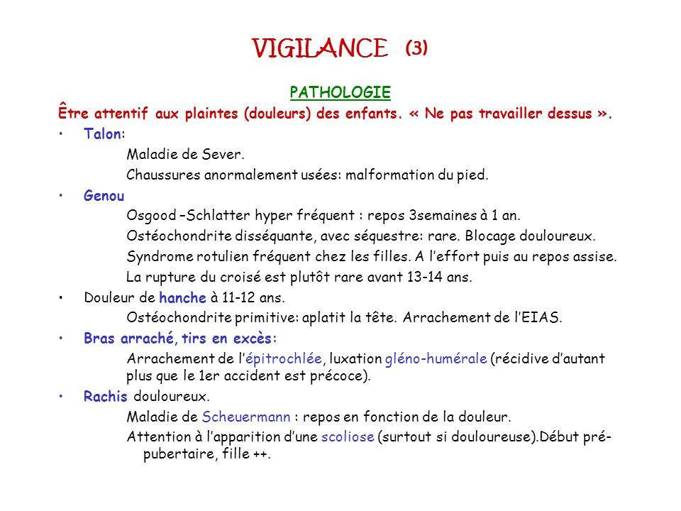 VIGILANCE (3) PATHOLOGIE Être attentif aux plaintes (douleurs) des enfants. « Ne pas travailler dessus ». Talon: Maladie de Sever. Chaussures anormale