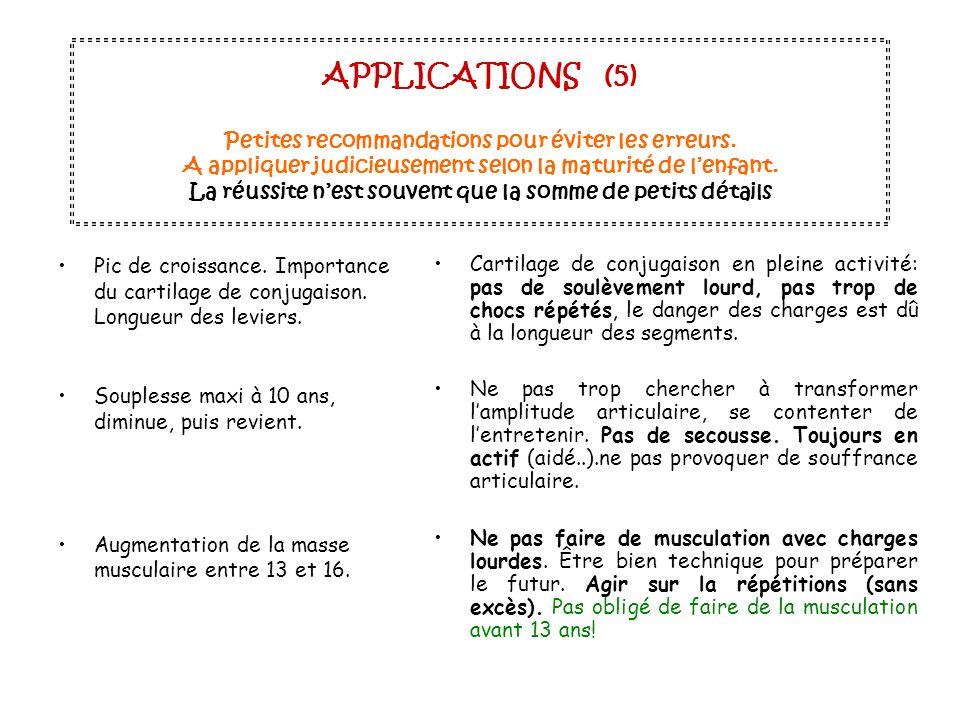 APPLICATIONS (5) Petites recommandations pour éviter les erreurs. A appliquer judicieusement selon la maturité de lenfant. La réussite nest souvent qu