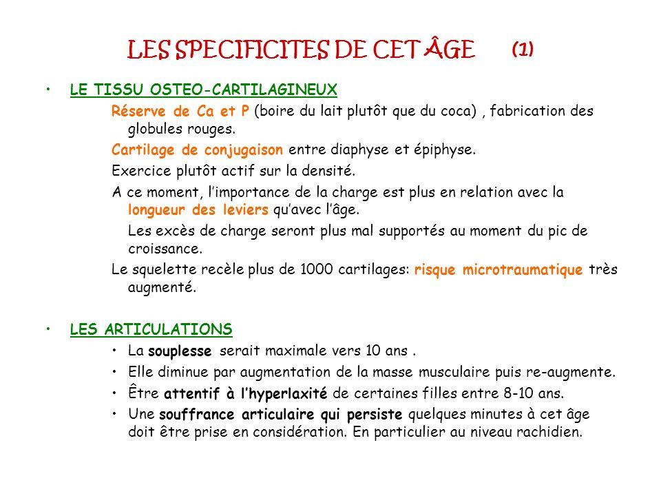 LES SPECIFICITES DE CET ÂGE (1) LE TISSU OSTEO-CARTILAGINEUX Réserve de Ca et P (boire du lait plutôt que du coca), fabrication des globules rouges. C