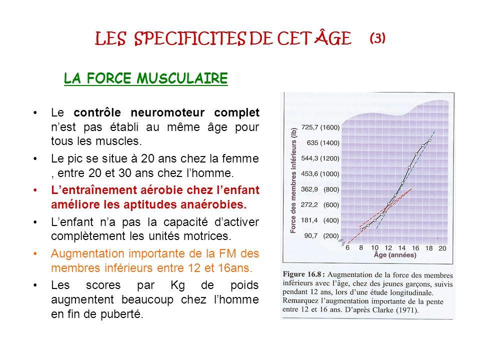 LES SPECIFICITES DE CET ÂGE (3) LA FORCE MUSCULAIRE Le contrôle neuromoteur complet nest pas établi au même âge pour tous les muscles. Le pic se situe