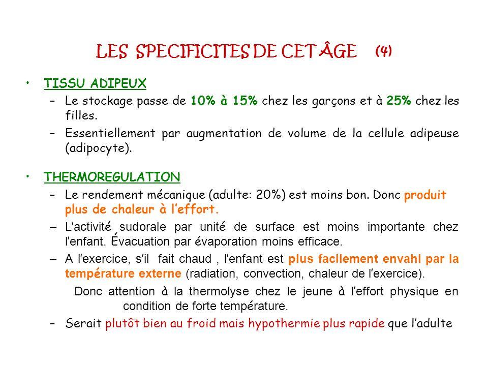 SOURCES ENERGETIQUES : SPECIFICITES (2) A.L. (suite) Expérience Ericksson: enfant 11-13ans.