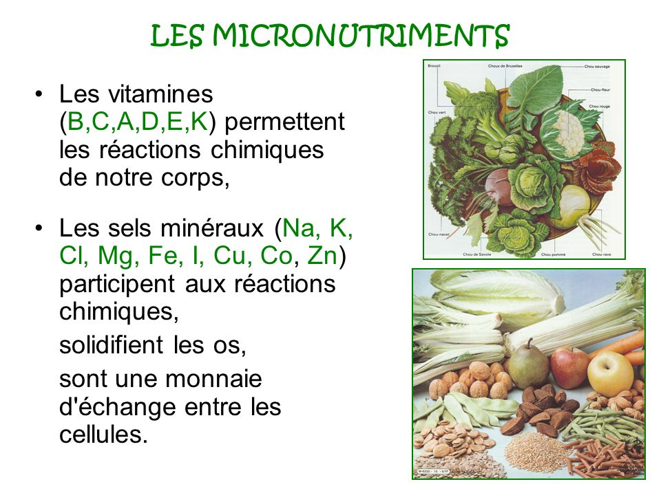 LES MICRONUTRIMENTS Les vitamines (B,C,A,D,E,K) permettent les réactions chimiques de notre corps, Les sels minéraux (Na, K, Cl, Mg, Fe, I, Cu, Co, Zn