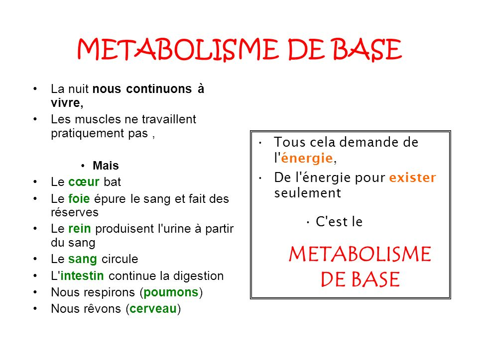 LES DEPENSES DE BASE Chez un homme de 70 KG, Le métabolisme de base = 1800 Cal (pour 24 heures) Chez un femme de 70 KG, Le métabolisme de base = 1700 Cal (pour 24 heures)