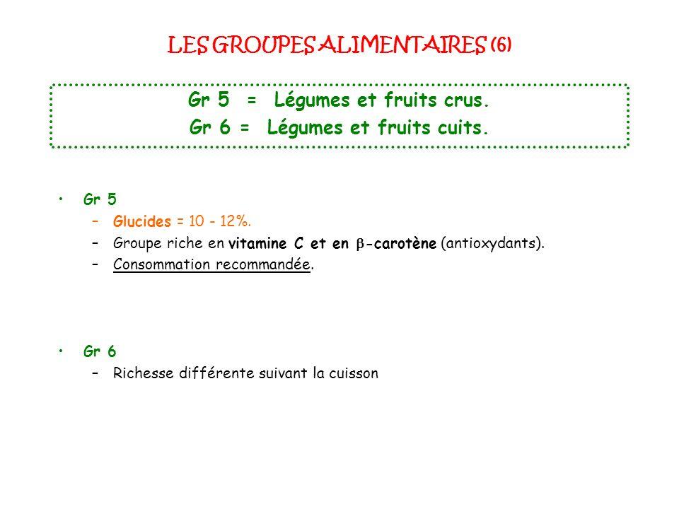 LES GROUPES ALIMENTAIRES (6) Gr 5 = Légumes et fruits crus. Gr 6 = Légumes et fruits cuits. Gr 5 –Glucides = 10 - 12%. –Groupe riche en vitamine C et