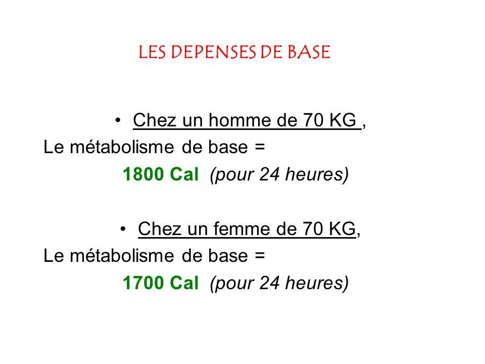 LES DEPENSES DE BASE Chez un homme de 70 KG, Le métabolisme de base = 1800 Cal (pour 24 heures) Chez un femme de 70 KG, Le métabolisme de base = 1700