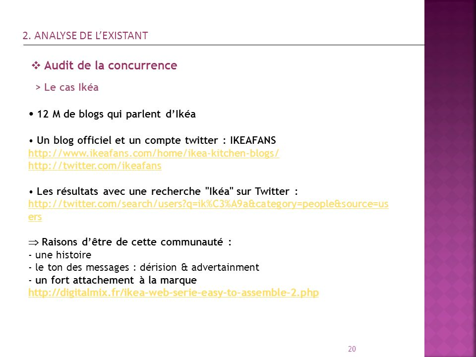 20 Audit de la concurrence 12 M de blogs qui parlent dIkéa Un blog officiel et un compte twitter : IKEAFANS http://www.ikeafans.com/home/ikea-kitchen-