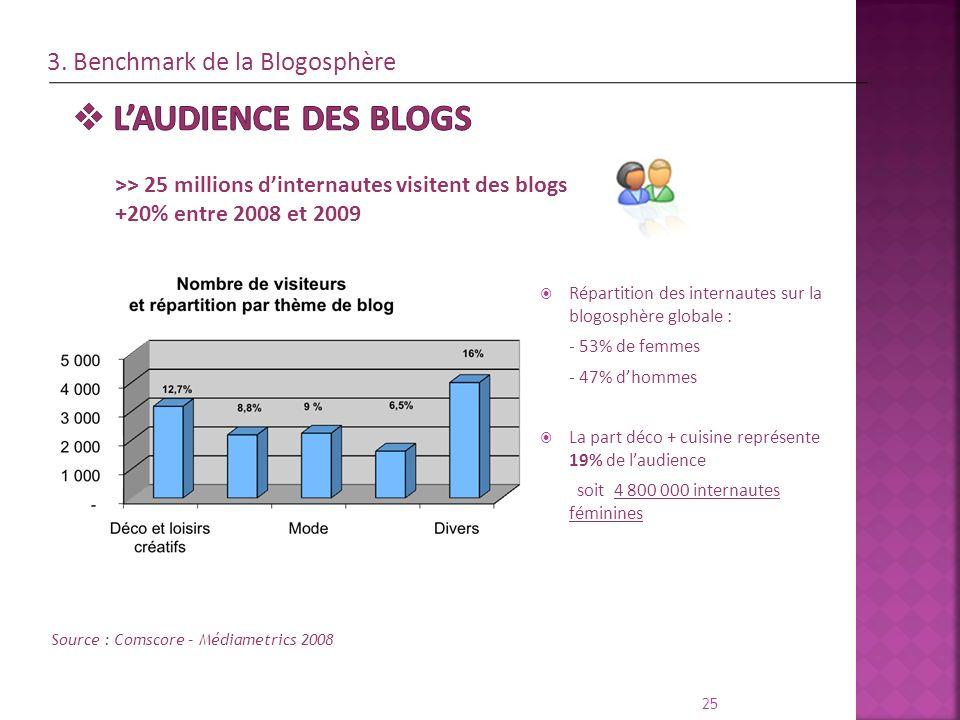 Répartition des internautes sur la blogosphère globale : - 53% de femmes - 47% dhommes La part déco + cuisine représente 19% de laudience soit 4 800 0