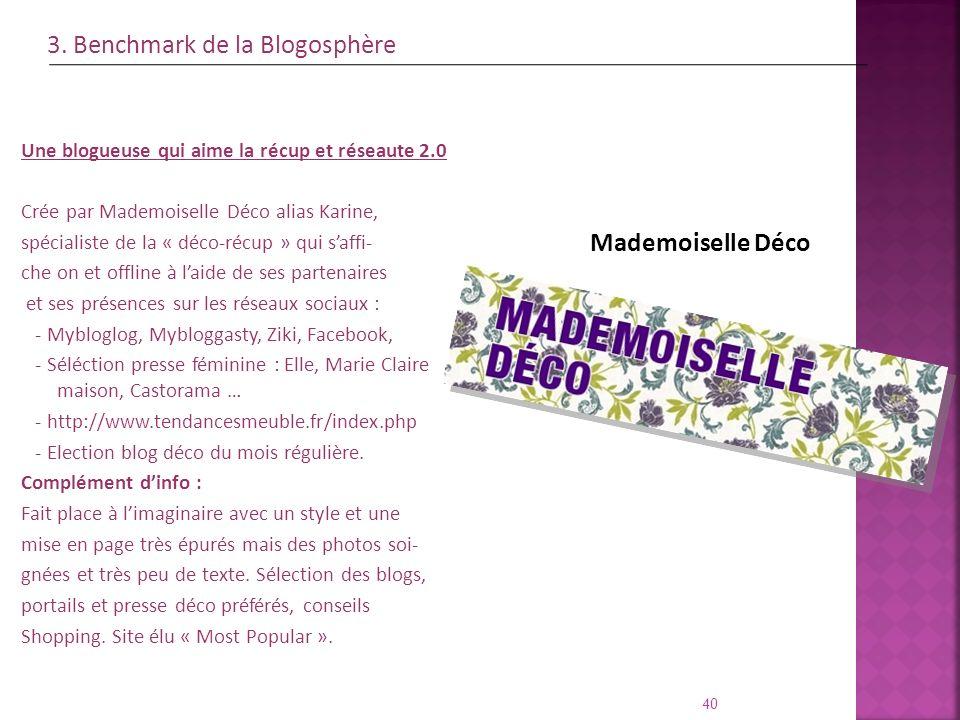 Mademoiselle Déco 40 Une blogueuse qui aime la récup et réseaute 2.0 Crée par Mademoiselle Déco alias Karine, spécialiste de la « déco-récup » qui saf
