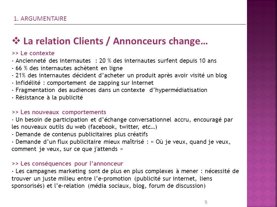 5 La relation Clients / Annonceurs change… >> Le contexte - Ancienneté des internautes : 20 % des internautes surfent depuis 10 ans - 66 % des interna