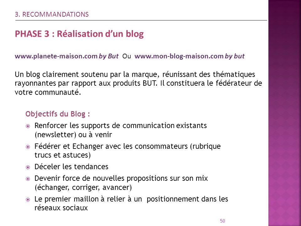 50 Objectifs du Blog : Renforcer les supports de communication existants (newsletter) ou à venir Fédérer et Echanger avec les consommateurs (rubrique