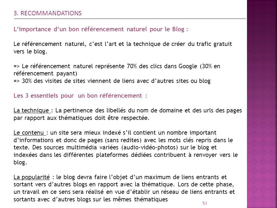 51 3. RECOMMANDATIONS Limportance dun bon référencement naturel pour le Blog : Le référencement naturel, cest lart et la technique de créer du trafic