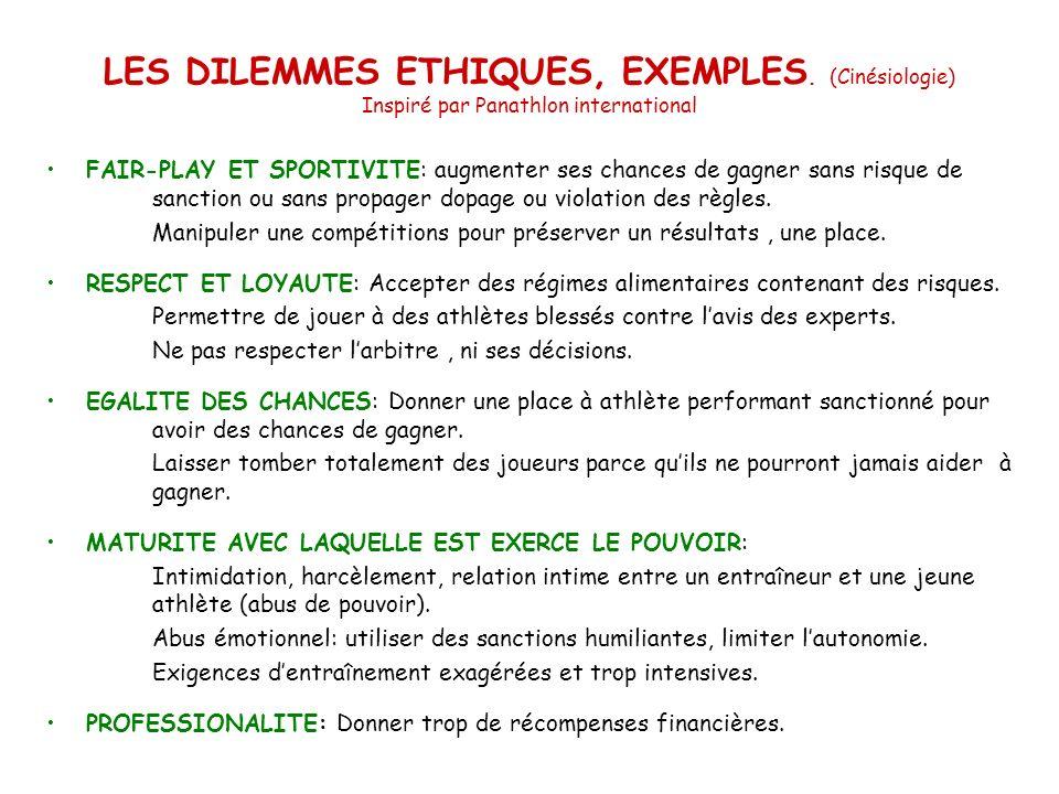 LES DILEMMES ETHIQUES, EXEMPLES. (Cinésiologie) Inspiré par Panathlon international FAIR-PLAY ET SPORTIVITE: augmenter ses chances de gagner sans risq