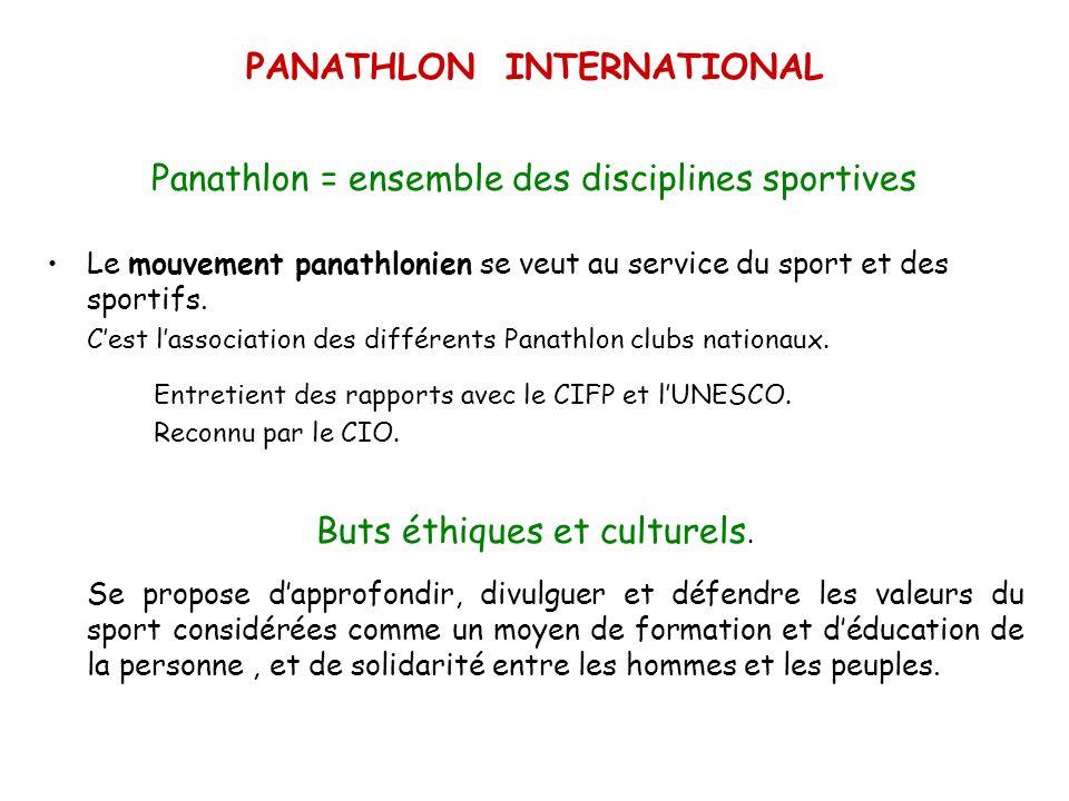 PANATHLON INTERNATIONAL Panathlon = ensemble des disciplines sportives Le mouvement panathlonien se veut au service du sport et des sportifs. Cest las