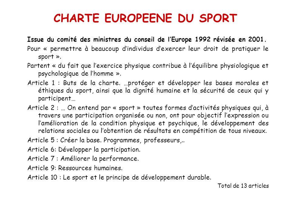 CHARTE EUROPEENE DU SPORT Issue du comité des ministres du conseil de lEurope 1992 révisée en 2001. Pour « permettre à beaucoup dindividus dexercer le