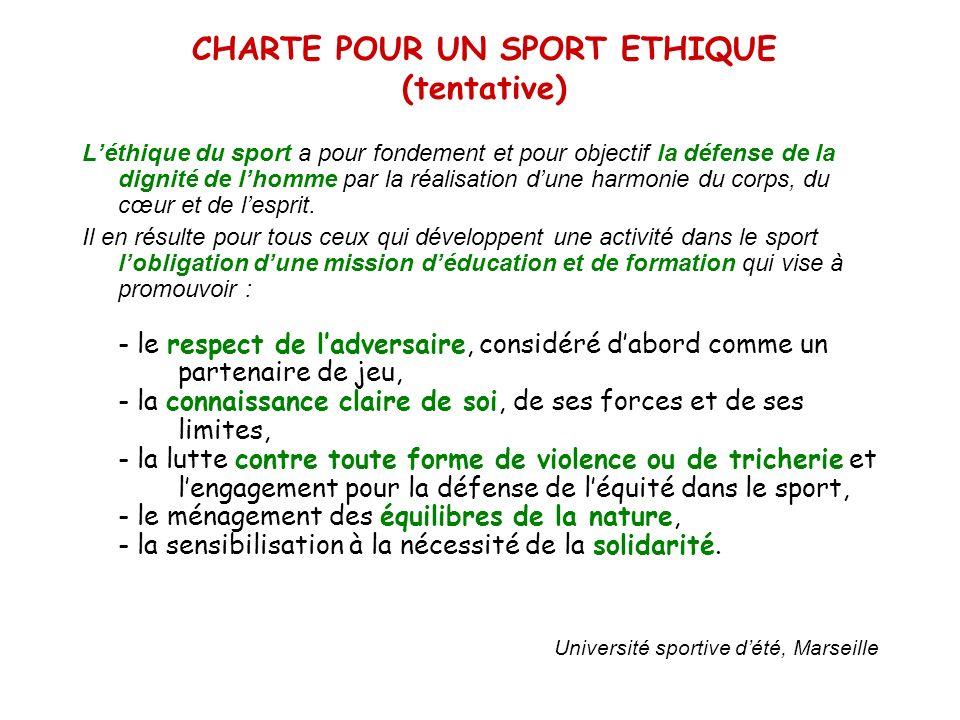 CHARTE POUR UN SPORT ETHIQUE (tentative) Léthique du sport a pour fondement et pour objectif la défense de la dignité de lhomme par la réalisation dun