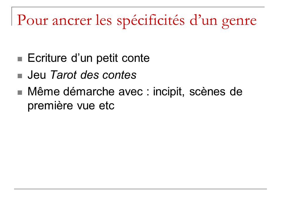 Pour ancrer les spécificités dun genre Ecriture dun petit conte Jeu Tarot des contes Même démarche avec : incipit, scènes de première vue etc