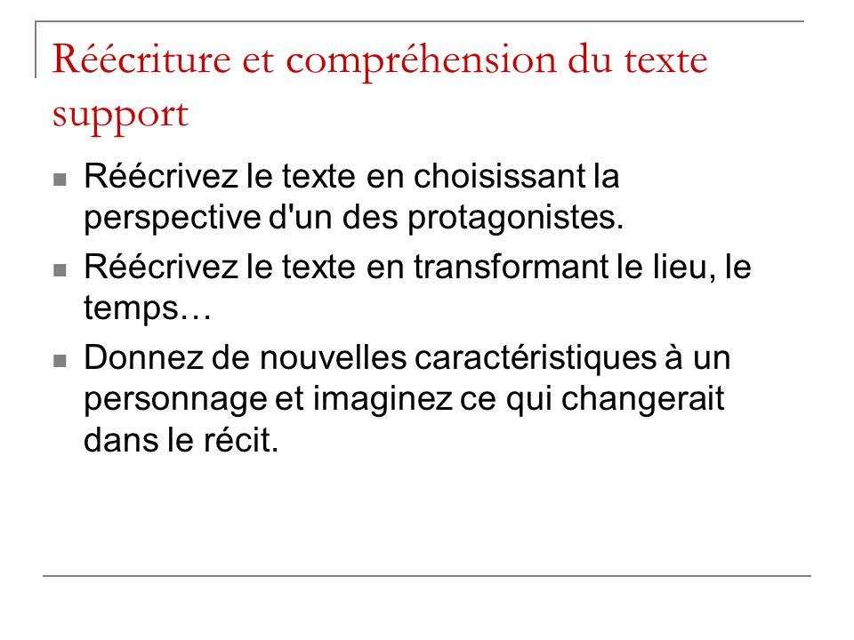 Réécriture et compréhension du texte support Réécrivez le texte en choisissant la perspective d'un des protagonistes. Réécrivez le texte en transforma