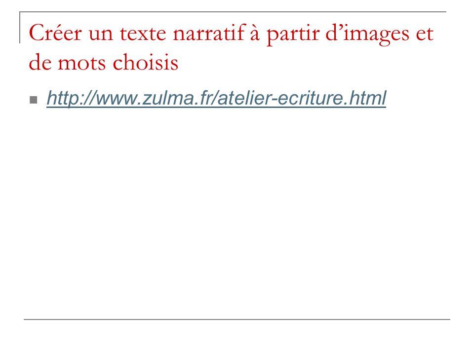 Créer un texte narratif à partir dimages et de mots choisis http://www.zulma.fr/atelier-ecriture.html