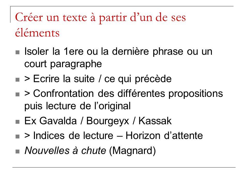 Créer un texte à partir dun de ses éléments Isoler la 1ere ou la dernière phrase ou un court paragraphe > Ecrire la suite / ce qui précède > Confronta