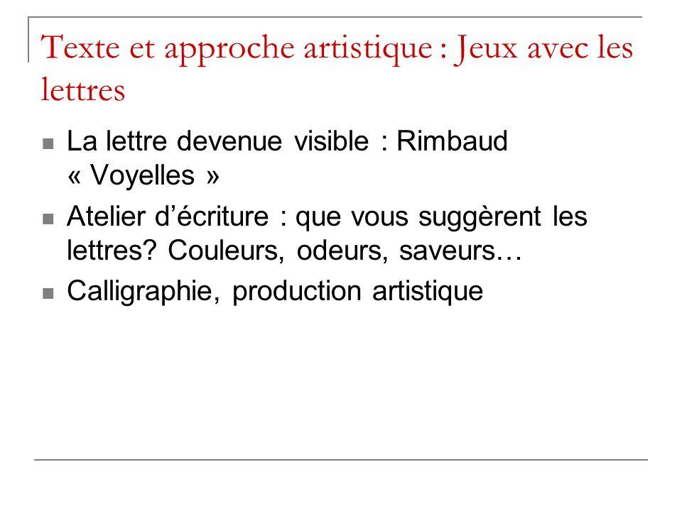 Texte et approche artistique : Jeux avec les lettres La lettre devenue visible : Rimbaud « Voyelles » Atelier décriture : que vous suggèrent les lettres.
