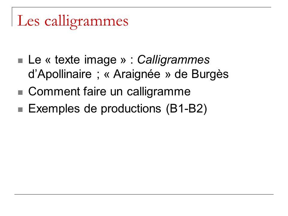 Les calligrammes Le « texte image » : Calligrammes dApollinaire ; « Araignée » de Burgès Comment faire un calligramme Exemples de productions (B1-B2)