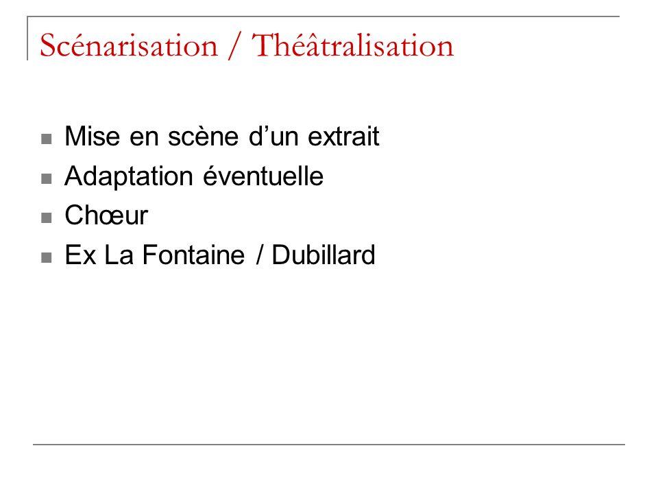 Scénarisation / Théâtralisation Mise en scène dun extrait Adaptation éventuelle Chœur Ex La Fontaine / Dubillard