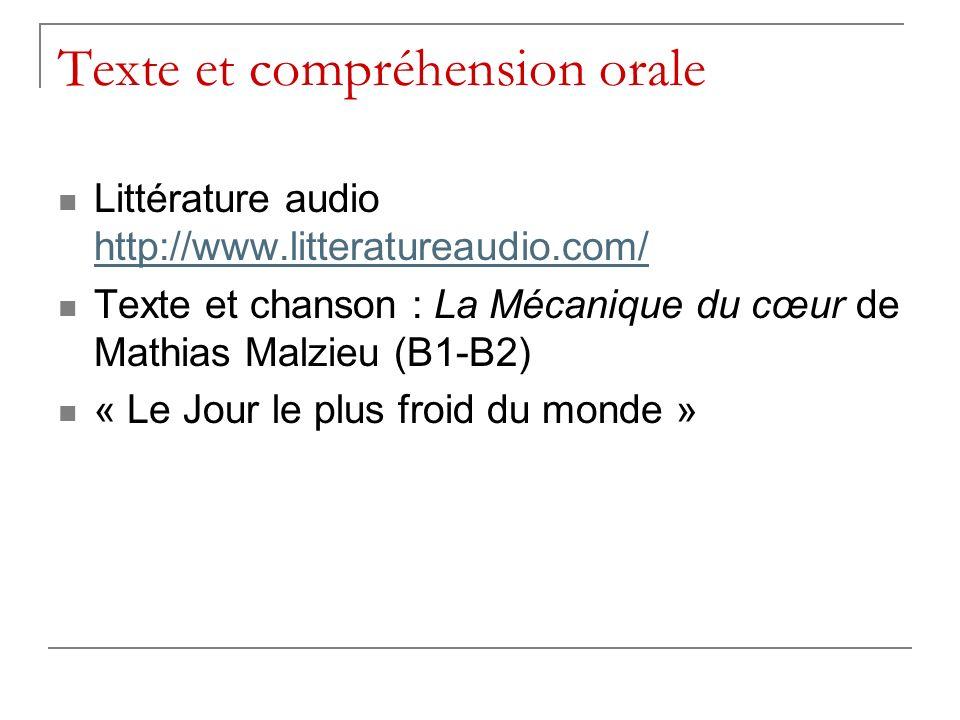 Texte et compréhension orale Littérature audio http://www.litteratureaudio.com/ http://www.litteratureaudio.com/ Texte et chanson : La Mécanique du cœur de Mathias Malzieu (B1-B2) « Le Jour le plus froid du monde »