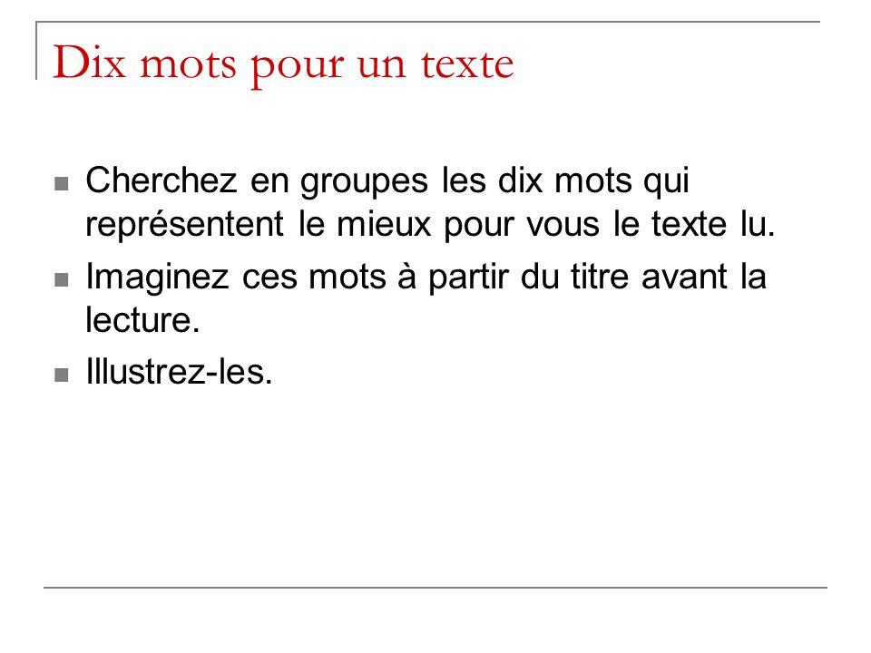 Dix mots pour un texte Cherchez en groupes les dix mots qui représentent le mieux pour vous le texte lu.